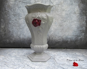 Vase 3 cast iron gray and pink plum