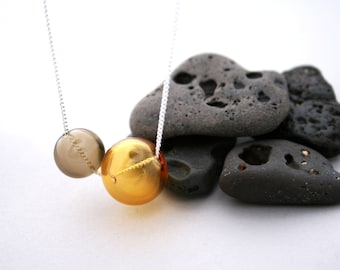 """Orb Collection - Hand Blown Glass Orbs on a 16"""" Silver Plated Chain (Yellow & Grey Hollow Glass Beads)"""