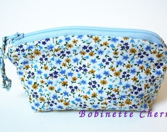Nice wallet liberty white blue sky and yellow hand-made in france