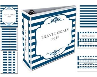 Editable pdf Letter Size, Navy White Stripes, Blank Binder Cover, Front Back Spine labels , DIY Printable, blank JPG files, Instant Download