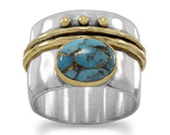 Sterling Silver 14 Karat Gold Plate Two Tone Stabilized Turquoise Ring - SIZES 6-10