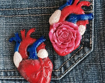 Сolored Brooch Heart Polymer Clay