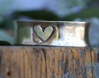 Brass wide extra thick Cuff bracelet with sterling silver Heart personalized bracelet