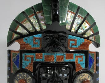 Inlaid black obsidian Sun God mask - 2