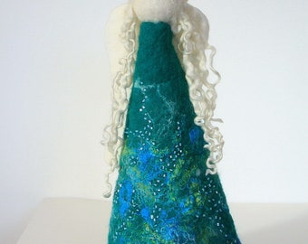 Hand Felted Green Turquoise  Wool Angel embellished with yarns and beads.