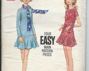 1968 VINTAGE BUTTERICK PATTERN. Misses One Piece Dress. 5671 Size 16 Bust 38