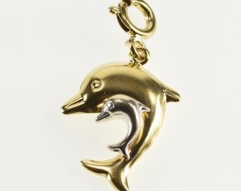 14K Two Tone Puffy Rounded Jumping Dolphins Pendant Yellow Gold