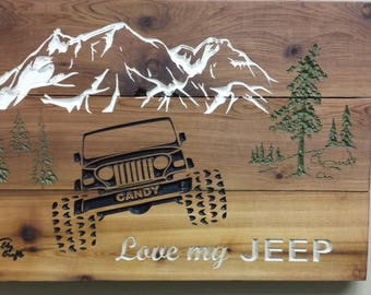 Jeep Ford Chevy Toyota Truck carved wooden sign personalized, great gift,  wall decor and mancave.