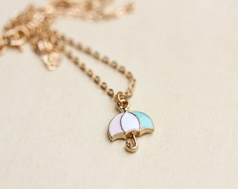 Umrella Charm Necklace, collier de parapluie, collier breloque en or, chaîne en or, émail, émail charme collier, collier en or, chaîne
