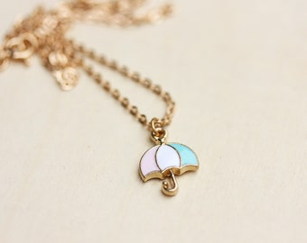 Umrella Charm Necklace, Umbrella Necklace, Gold Charm Necklace, Gold Chain, Enamel Necklace, Enamel Charm Necklace, Gold Necklace, Chain