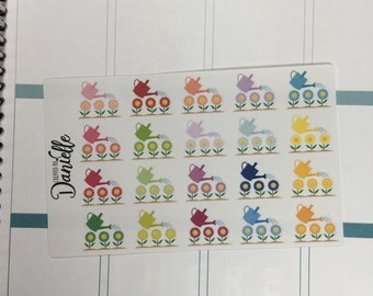 Water Flowers Garden Planner Stickers, Gardening Stickers, Gardening Planner Stickers, set of 20
