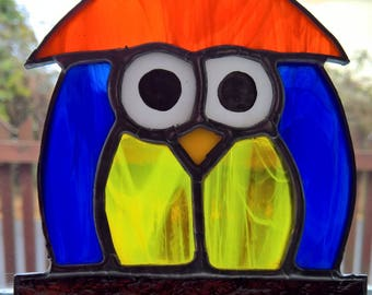 Owl stained glass sun catcher