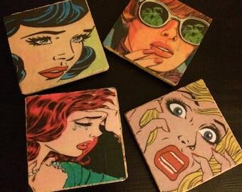 Vintage pop art comic girl coasters