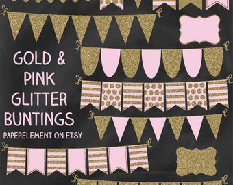 Gold Glitter Bunting Clipart: Bunting Banner Clipart, Pink and Gold Banner Clip Art, Ribbon Glitter Banner, Glitter Bunting Clip Art Garland