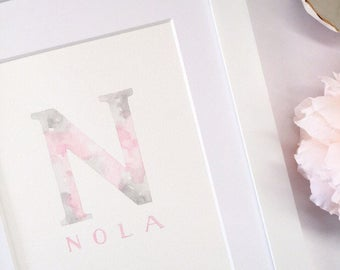 Initial Art, First lnitial Painting, Baby Name Art, Name Painting, Alphabet Art