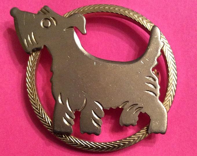 SCOTTIE Dog TERRIER Gold Brooch Pin VINTAGE