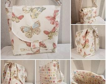 Cross Body Bag/Shoulder Bag. Pretty Butterflies. Gift for Mum/Ladies/Friend/Bridesmaid. Adjustable Strap. Zipper Pockets. Flap Closure.