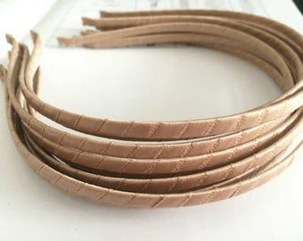 10pieces ecru satin metal hair headband covered 5mm wide
