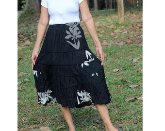 Black floral knee length elastic waist comfy summer skirt (EW12)