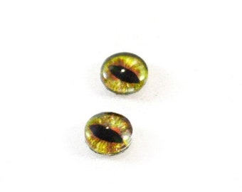 SALE 8mm Green and Brown Glass Dragon Eye Cabochons - Evil Eyes for Doll or Jewelry Making - Set of 2