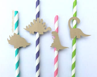 Girl Dinosaur Straws-Dino Straws-Dinosaur party-Girl Dinosaur birthday-Dinosaur-1st birthday-paper straws-striped straws-Dinosaur decor