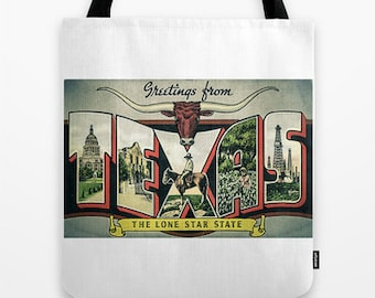 Texas the Lone Star State Postcard 18 x 18 Tote Bag ***Sale   Last One ***