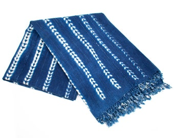 African Indigo Blanket, Cotton Wall Hanging, Blue Cotton Throw, Sofa Blanket, African Decorative Throw, Authentic African Throw | 'Hilde'