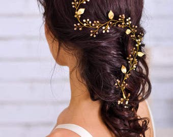 Bridal hair vine Bridal hair piece Wedding hair vine Wedding headpiece Long hair vine Grecian gold leaf Crystal hair vine Gold hair vine