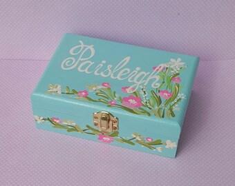 Personalized Blue  Child's Jewelry Box Wood Box Girls Hot  Pink Nursery Decor
