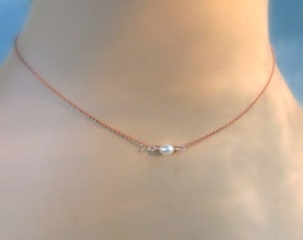 Rose Gold Freshwater Pearl Choker, Tiny Creamy Ivory Pearls, Minimalist Layering Necklace, Delicate Jewelry Gift for Her