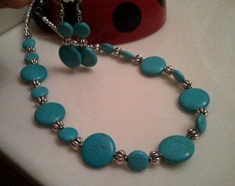 Handmade Beaded Necklace Set - Turquoise and Silver Beads Necklace Set - Turquoise Necklace - Turquoise Beads