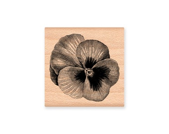 PANSY- wood mounted rubber stamp- (32-04)