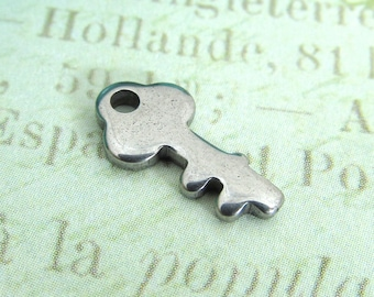 Stainless Steel Key Charm, Stainless Steel Jewelry Pendant, Set of 10 SST Findings 13x8x1.5mm tiny key charm (028)