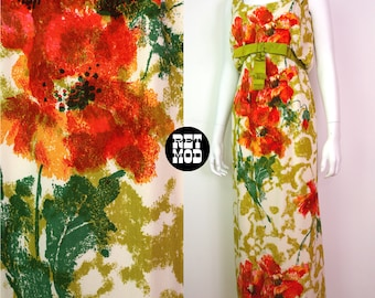 BEAUTIFUL Vintage 60s Orange & Green Abstract Floral Long Party Dress