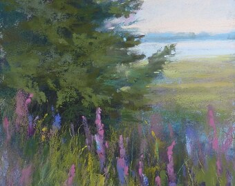 FOREST Trees Summer Lupines Landscape Original Pastel Painting Karen Margulis 10x8
