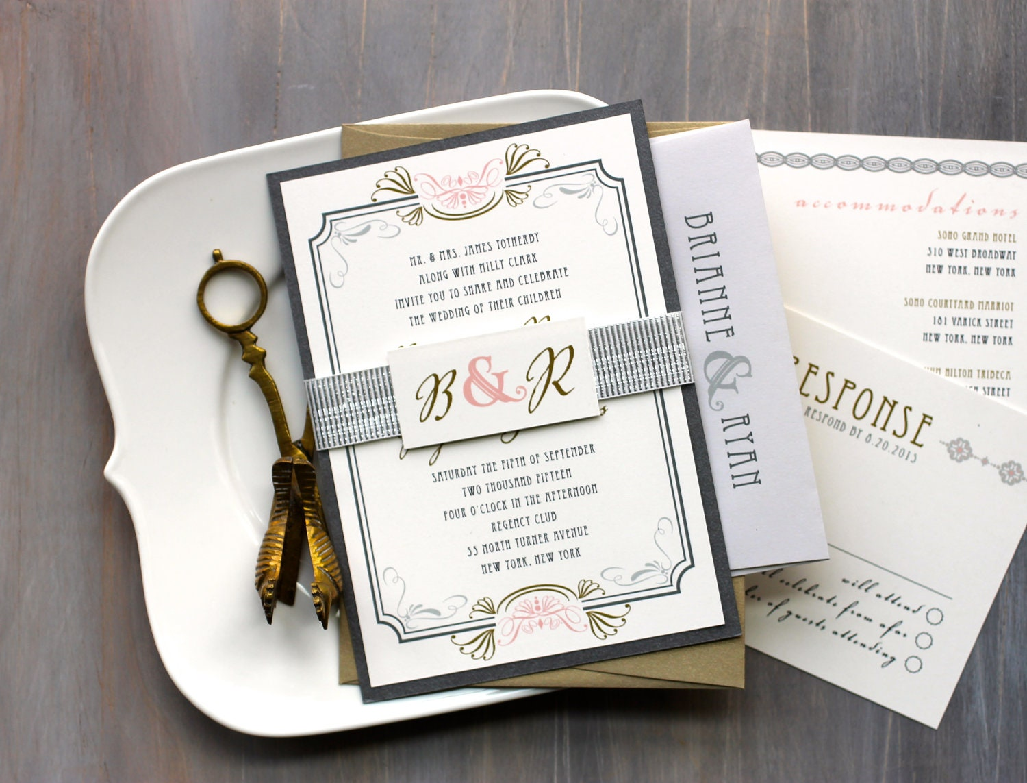 Art Deco Wedding Invitations Modern Gold and Silver Wedding