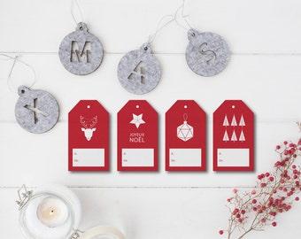 PRINTABLE christmas Gift Tag, Printable Holiday Gift Tags, Christmas DIY Tags, Printable Christmas Gift Tags, red xmas Digital Labels