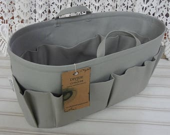 "15"" x 6"" x 7""H / Wide-Oval / Ready to Ship / Purse ORGANIZER insert Shaper / GRAY / with handles, 2 bottle loops & stiff wipe-clean bottom"