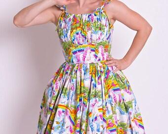 50's style Unicorn Squad Print Cotton Dress, Unicorns, Pinup, vintage reproduction, Make for Good
