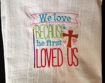 Embroidered scripture flour sack towel, tea towel, dish towel, Christian towel, religious towel, Bible verse, Christian gift, kitchen decor