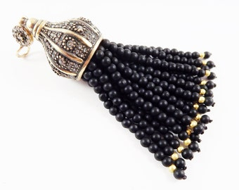 Large Long Matt Black Onyx Stone Beaded Tassel with Crystal Accents - Antique Bronze - 1PC