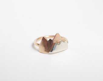 mountain ring, silver 14k gold fill mountain range ring, camping hiking jewelry, wanderlust, outdoor lovers gift, camping