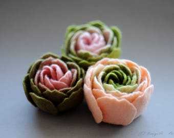 Set of 3 Felt Ranunculus Flower Brooches, Light Pink and Olive Green Ranunculus Felt Flower Brooches, Floral jewelry, Textile art