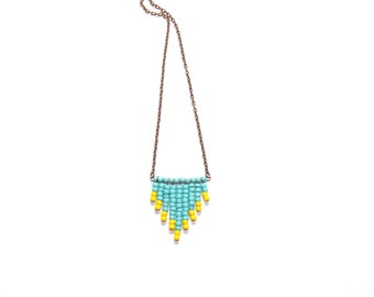 Beaded chevron necklace in turquoise and yellow, with antique copper chain and findings