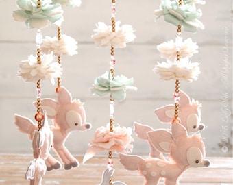 Fawn Baby Mobile Woodland + 100 Swarovski Crystals, Deer Nursery Decor, Baby Girl Nursery Mobile, Deer, Baby Mobile Girl, Woodland Mobile