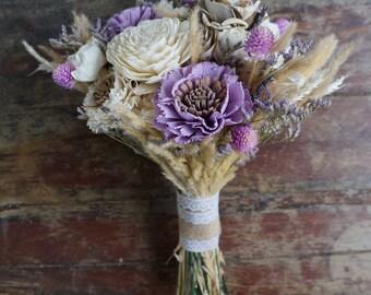 Lavender Dreams Sola Flower Bouquet // Wood Flower Bouquet, Keepsake Wood Flower Wedding Bouquet, Bridal Bouquet