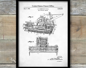 Combine Print, Farm Equipment Decor, Farm Art, Vintage Farm Decor, Combine Blueprint, Combine Diagram, Farm Art Poster, P491
