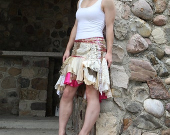 upcycled skirt - M - upcycled clothing, upcycled fashion, wearable art, tattered skirt . chasing dawn