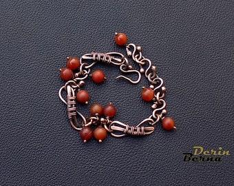 Jasper and copper wire wrapped women bracelet,Copper jasper women bracelet,Wire wrapp jewelry,Women copper braided bracelet,jasper bracelet