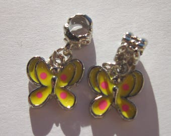 2 charms 14 m with bail (2-1) colorful metal Butterfly